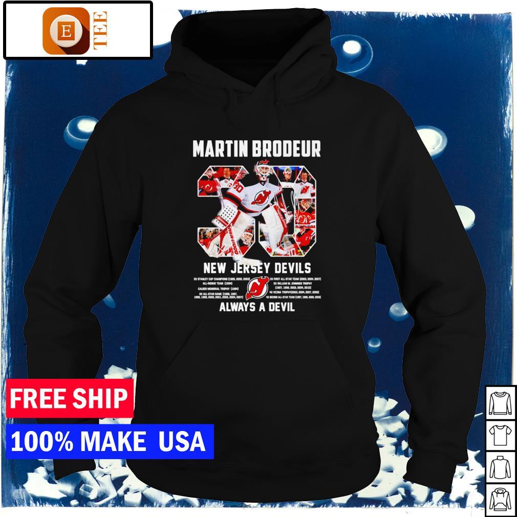 Martin Brodeur number 30 New Jersey Devils always a Devil signature s hoodie
