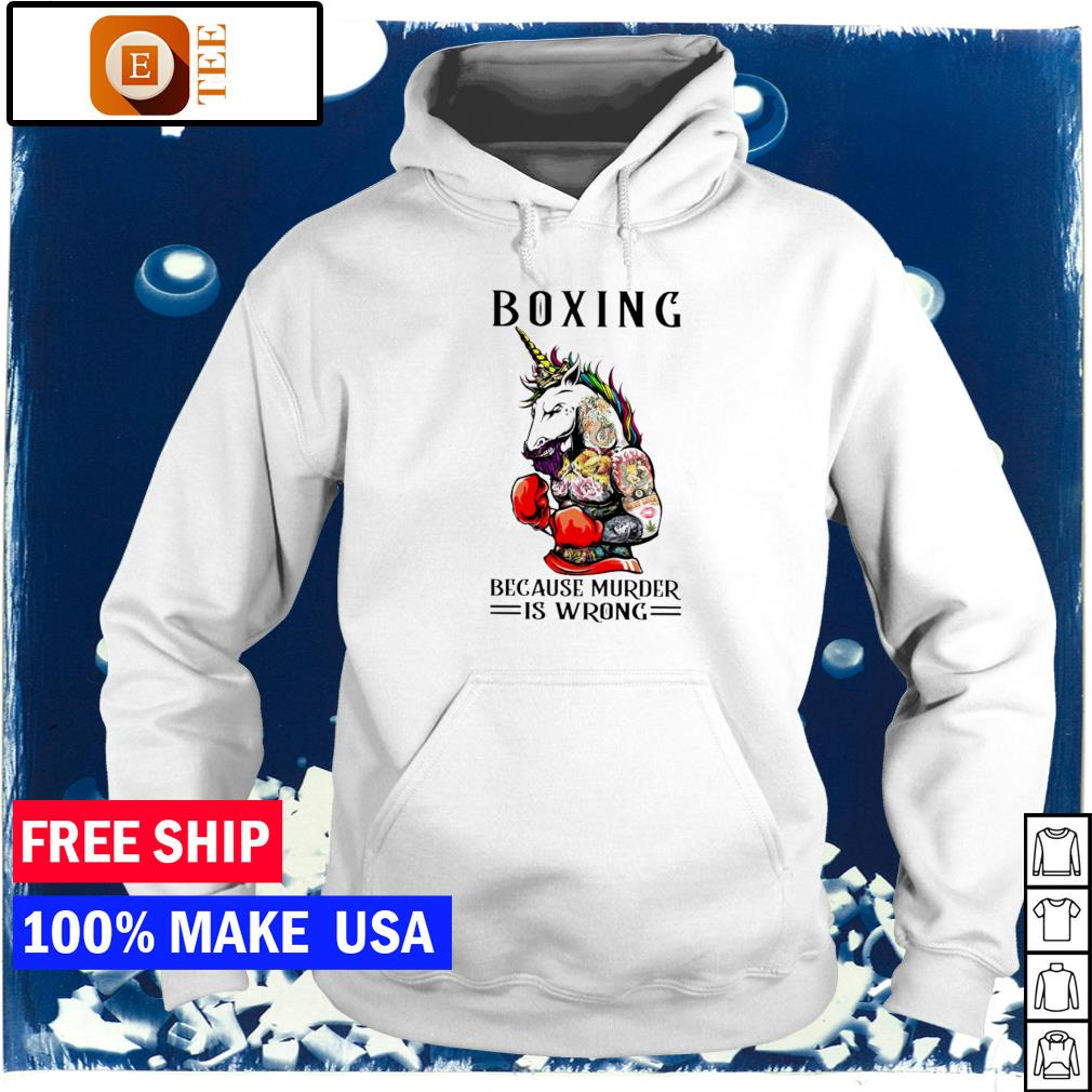 Tattoos unicorn boxing because murder is wrong s hoodie