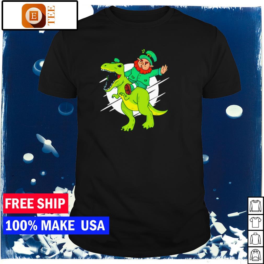 Leprechaun riding T Rex happy St Patrick's Day shirt