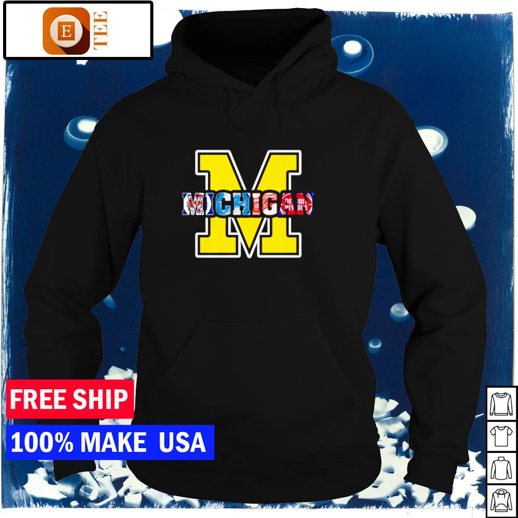 Michigan sports teams Detroit Lions Red Wings and Pistons s hoodie