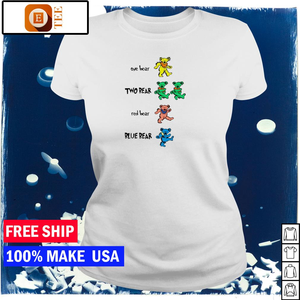 The Grateful Dead one bear two bear red bear and blue bear s ladies tee