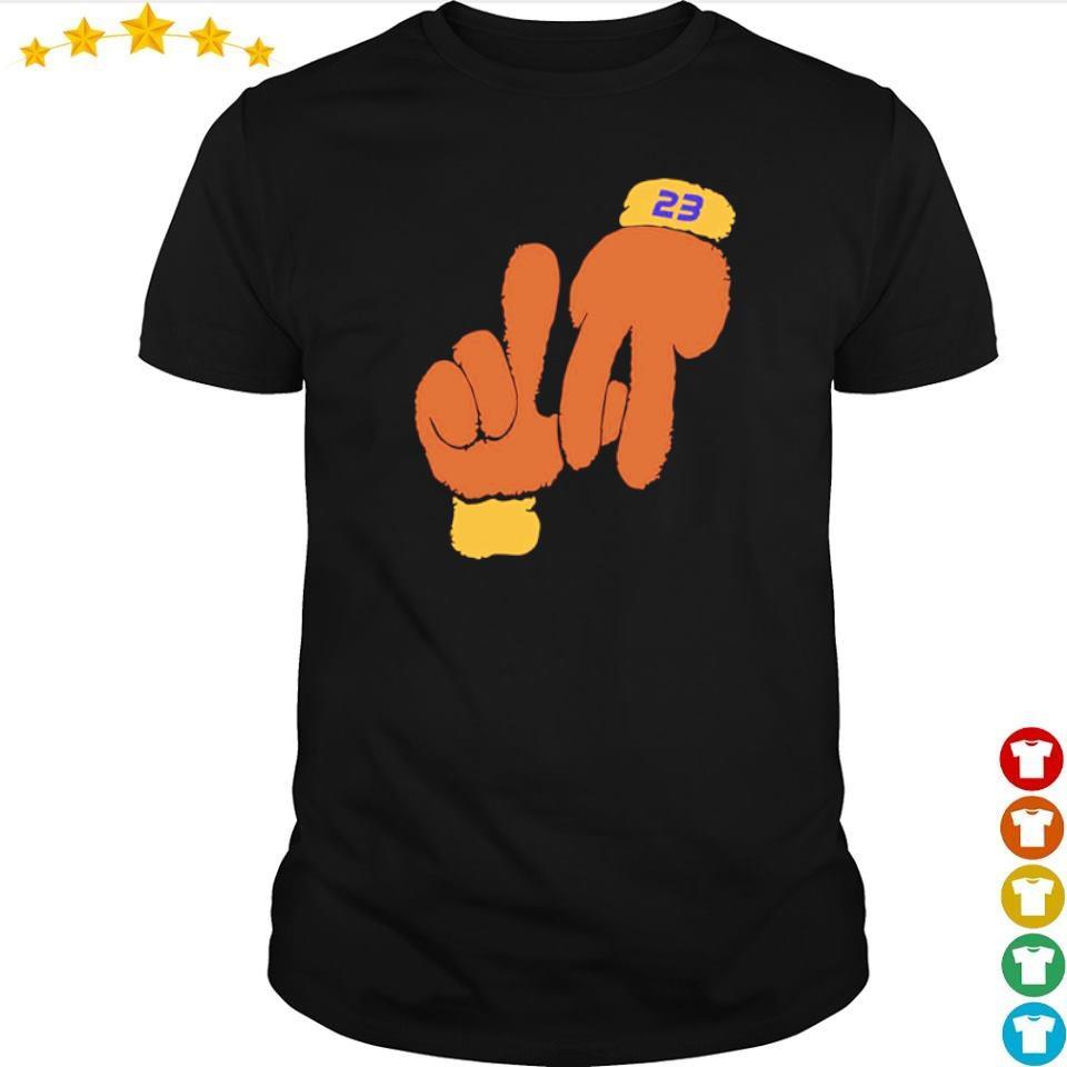 Lebron la hand gestures shirt