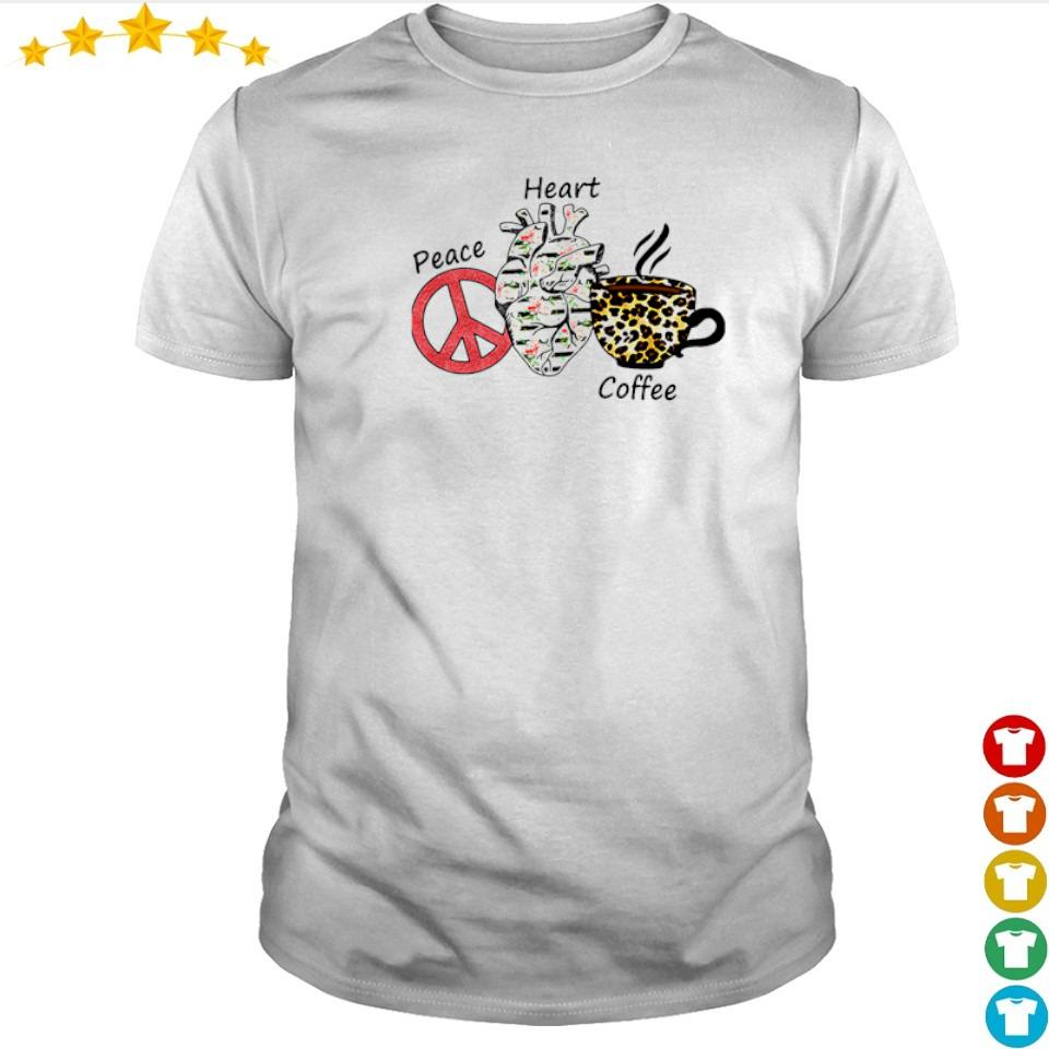 Peace Heart Coffee Flowers Leopard shirt