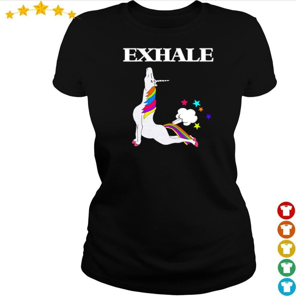 Unicorn exhale I love yoga s ladies tee