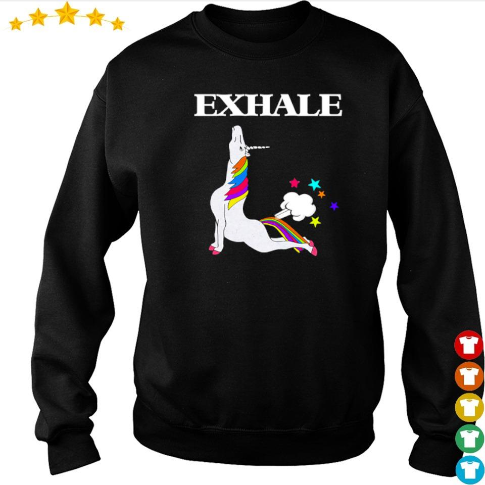 Unicorn exhale I love yoga s sweater