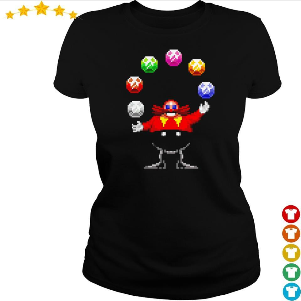 Dr. Eggman juggling the Chaos Emeralds s ladies tee