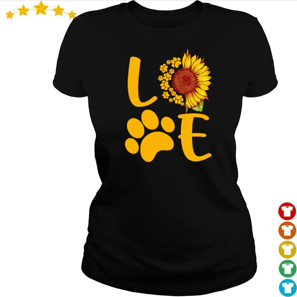 Love dog paws sunflower s ladies tee