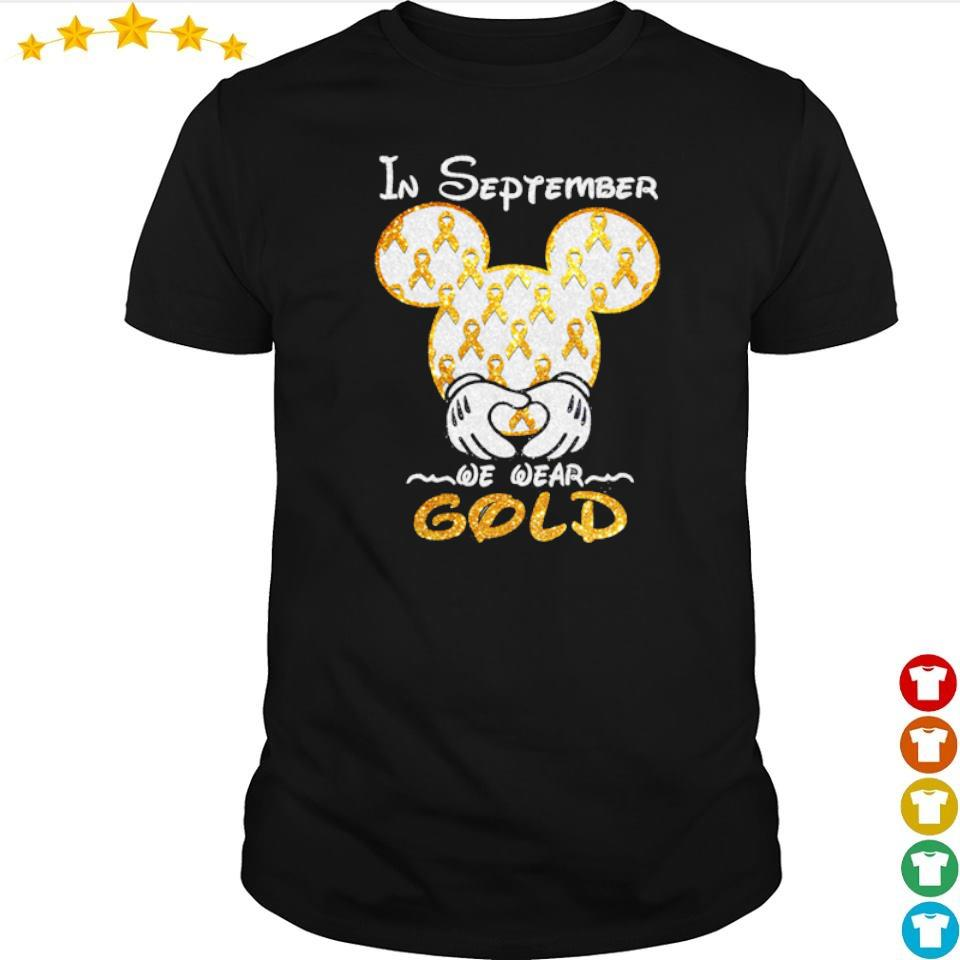 Autism Awareness Mickey Mouse in september we wear gold shirt