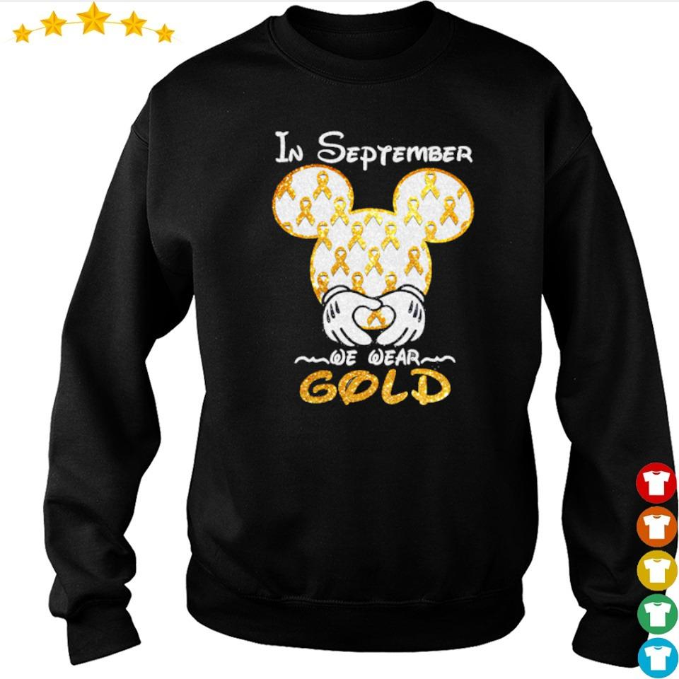 Autism Awareness Mickey Mouse in september we wear gold s sweater