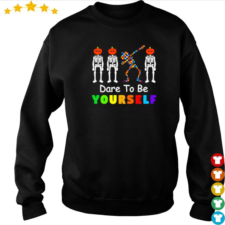 Dare to be yourself skeleton dabbing autism awareness s sweater
