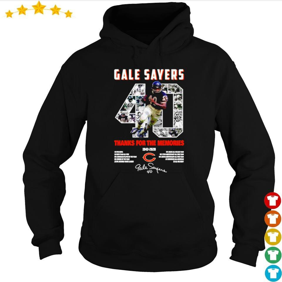Gale Sayers 40 thank you for the memories 1943 2020 signature s hoodie