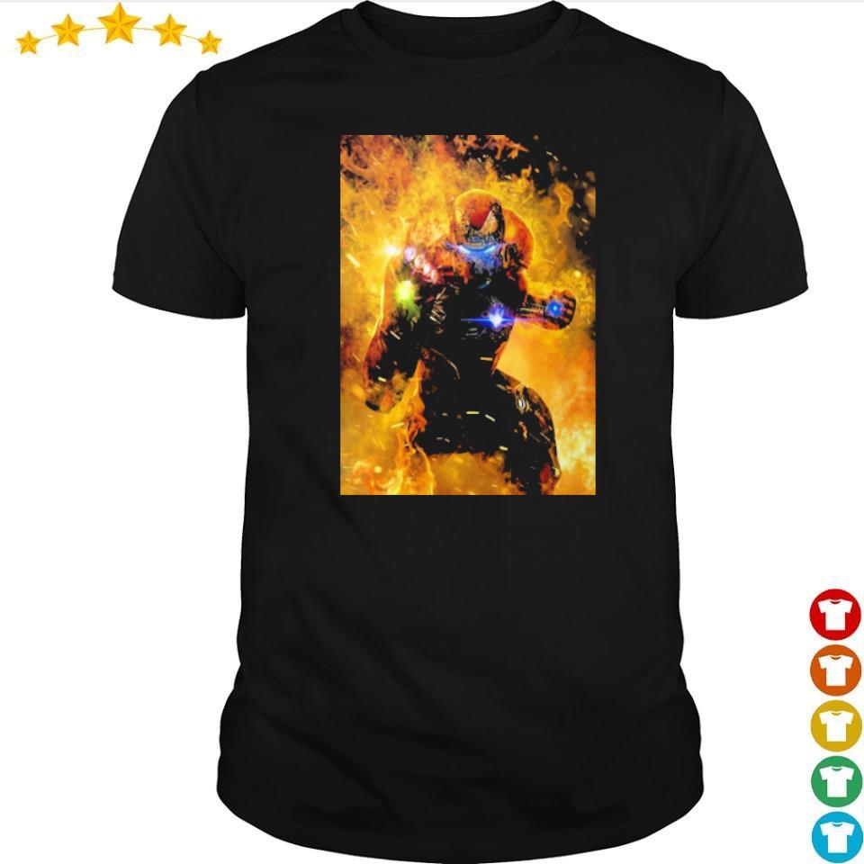 Iron Man wearing infinity gauntlet in fire shirt