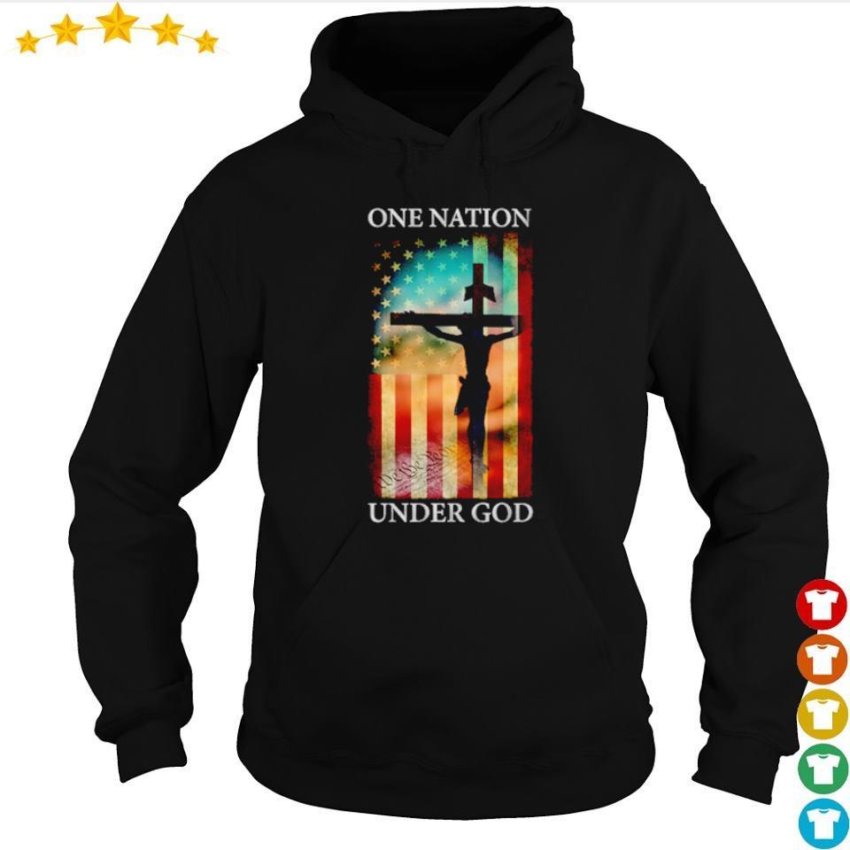 Jesus cross American Flag one nation under God s hoodie