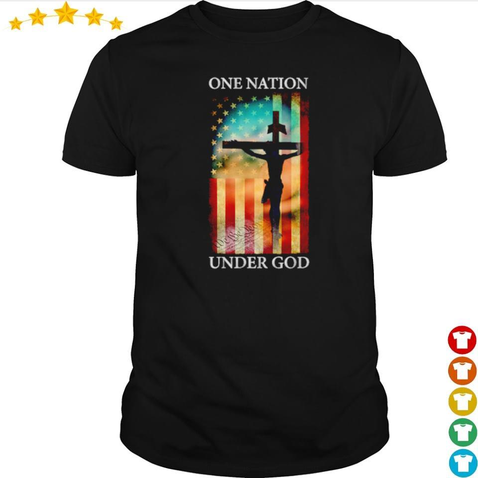 Jesus cross American Flag one nation under God shirt