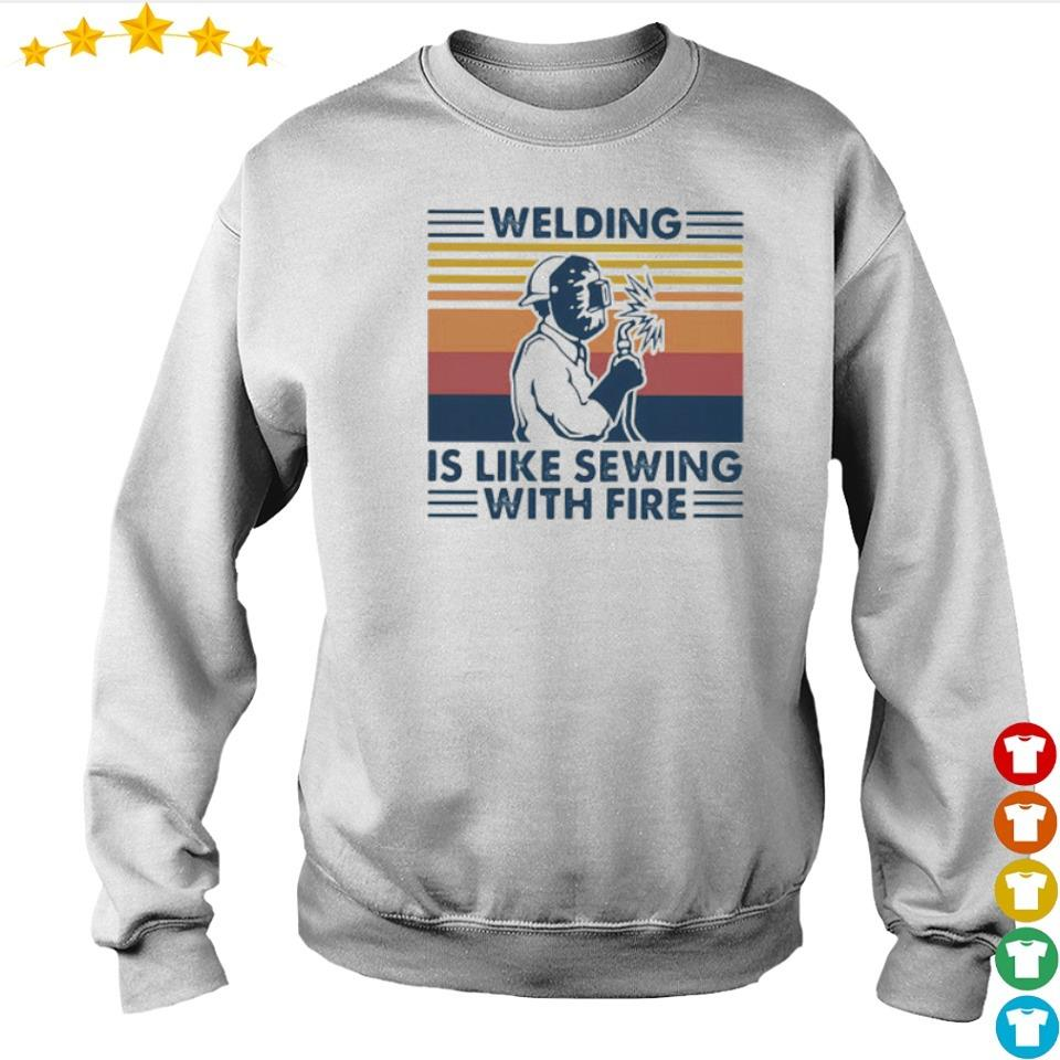 Welding is like sewing with fire vintage s sweater