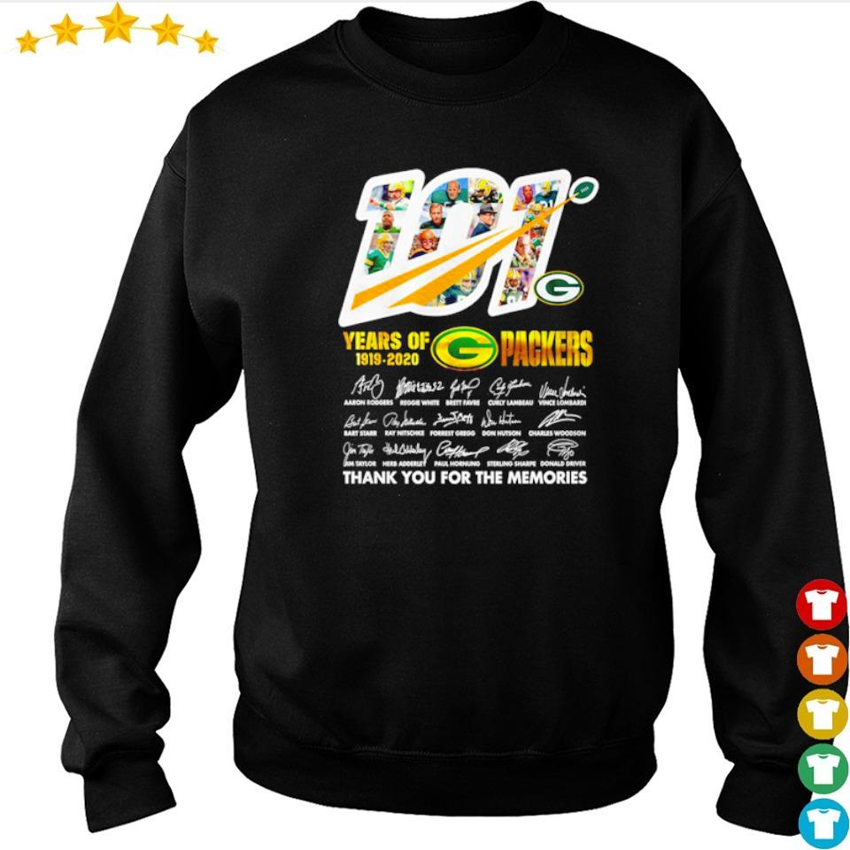 101 years of Green Bay Packers 1919 2020 thank you for the memories signature s sweater