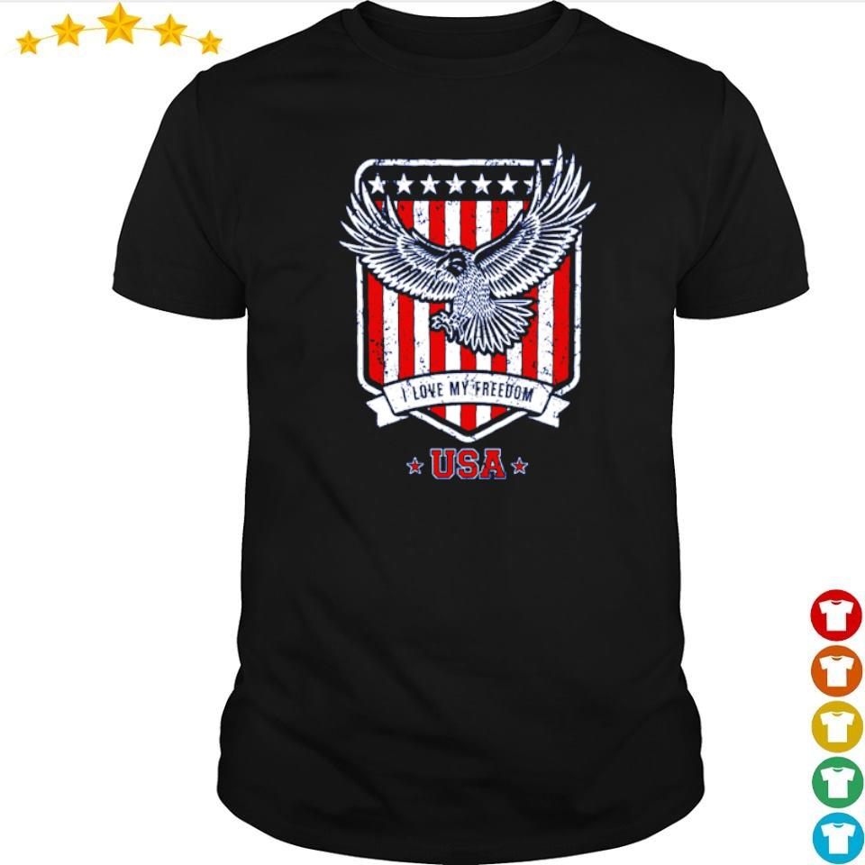 American Flag Eagle I love freedom USA shirt