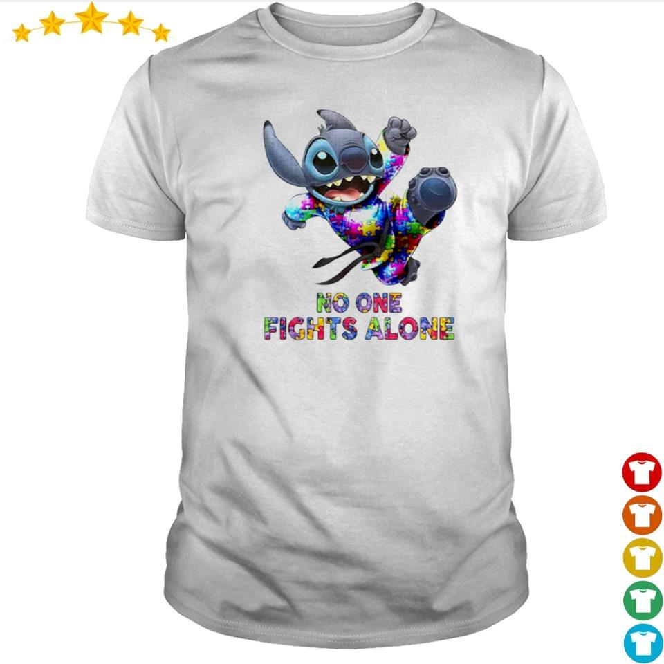 Autism awareness Stitch no one fights alone shirt
