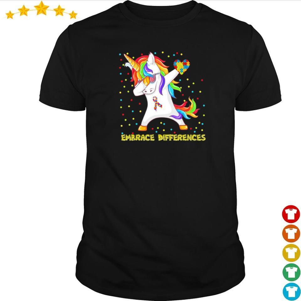 Autism awareness unicorn dabbing embrace differences shirt