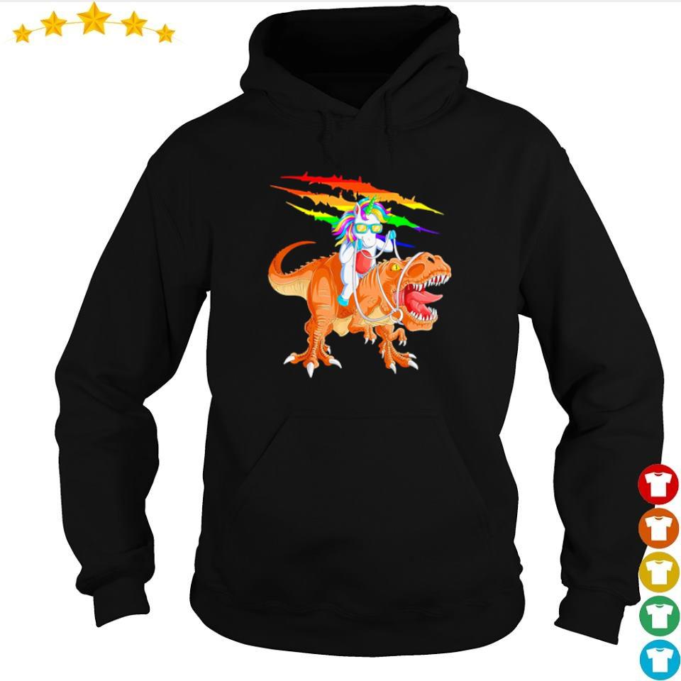Awesome unicorn riding t rex dinosaur s hoodie