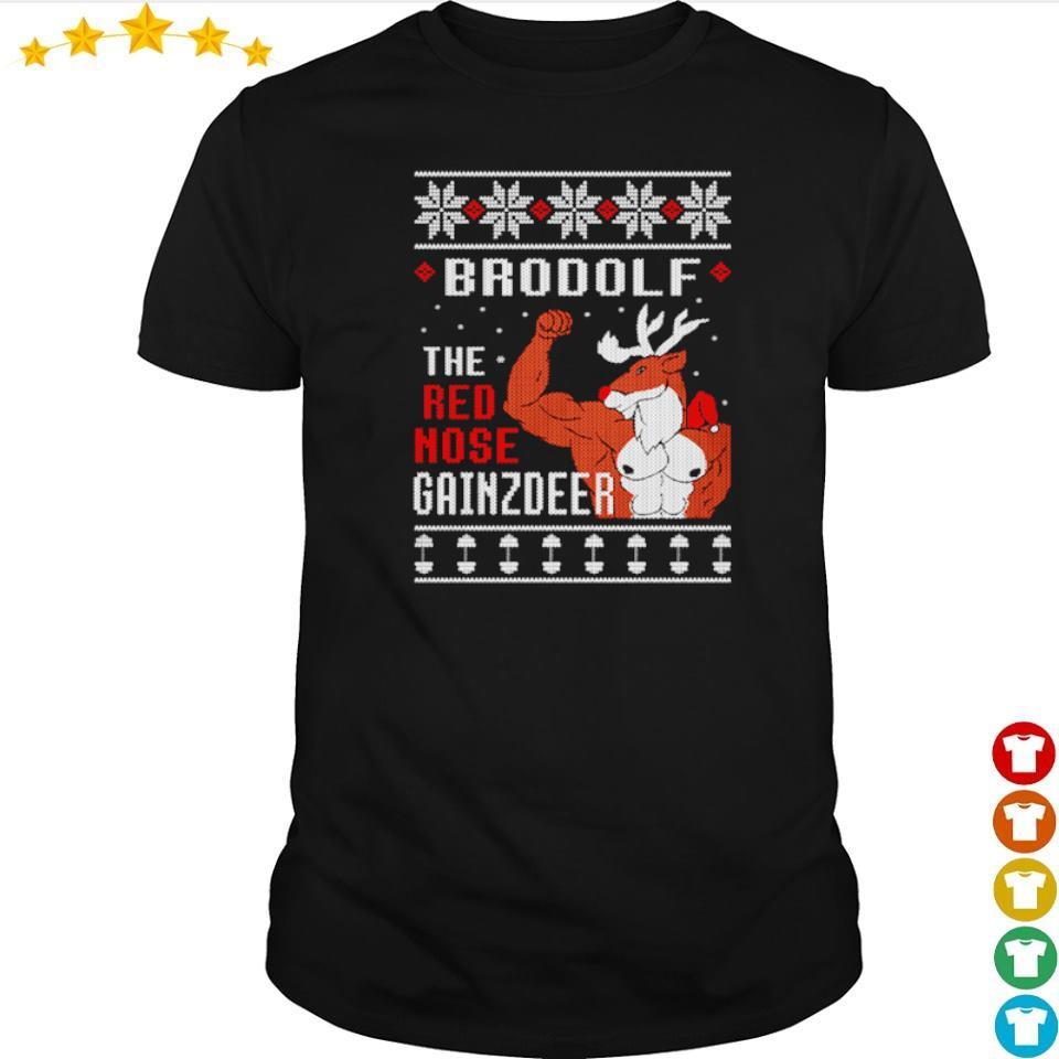 Brodolf the red nose gainzdeer happy Halloween shirt