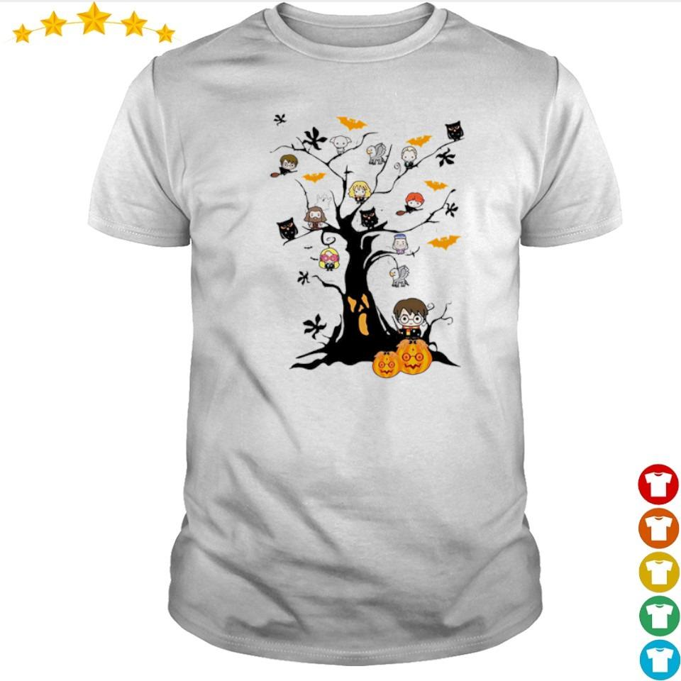 Chibi Harry Potter characters in Halloween tree shirt