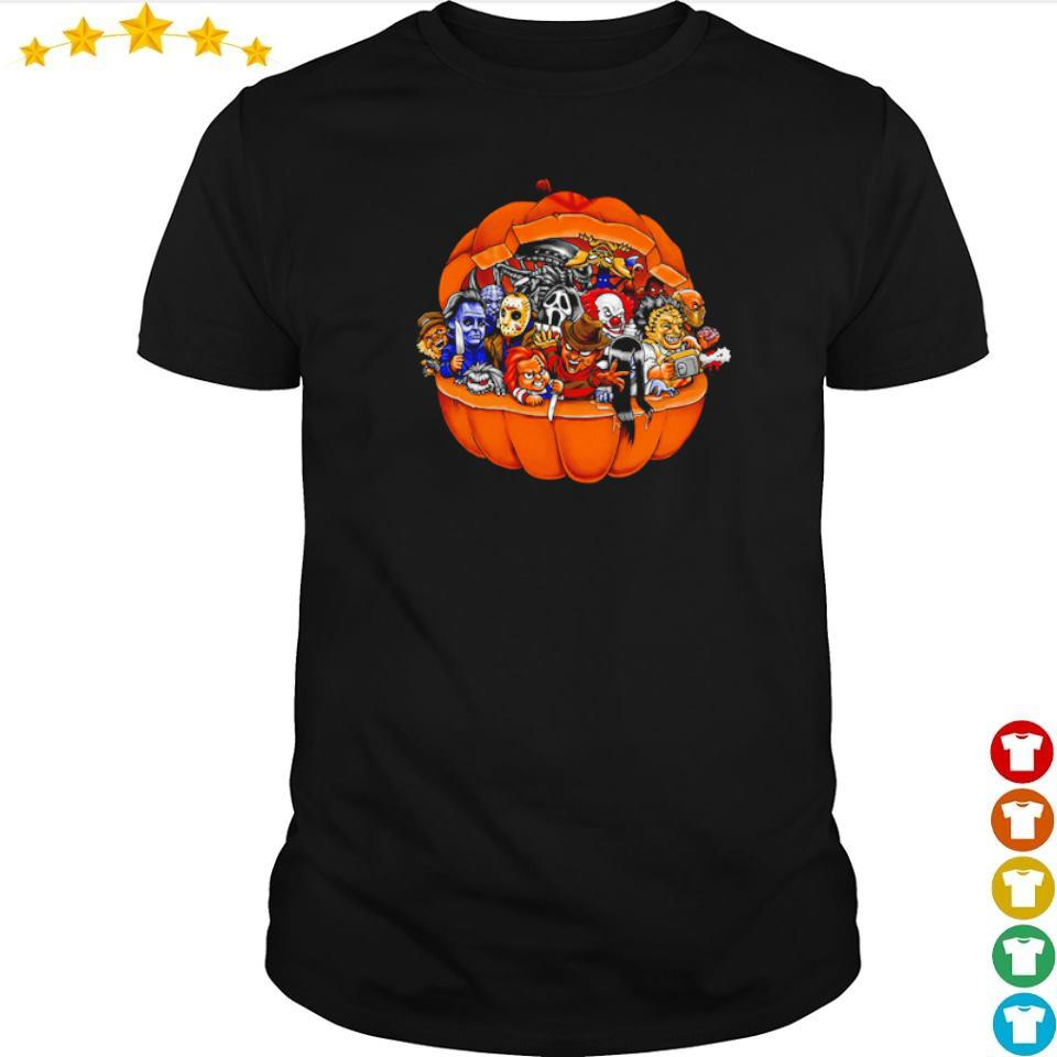 Chibi horror characters inside pumpkin happy Halloween shirt