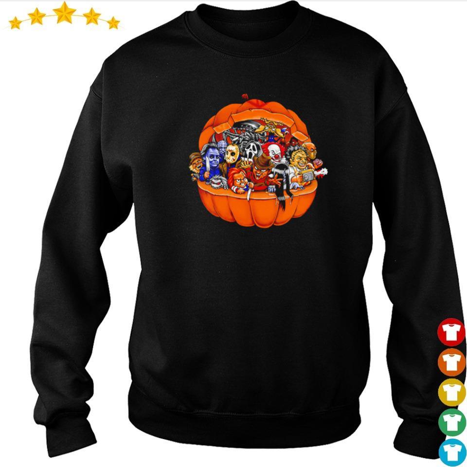 Chibi horror characters inside pumpkin happy Halloween s sweater