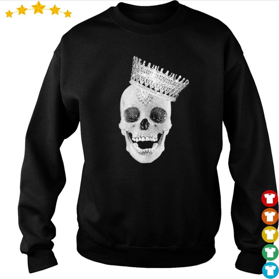 Diamond skull wearing crown s sweater