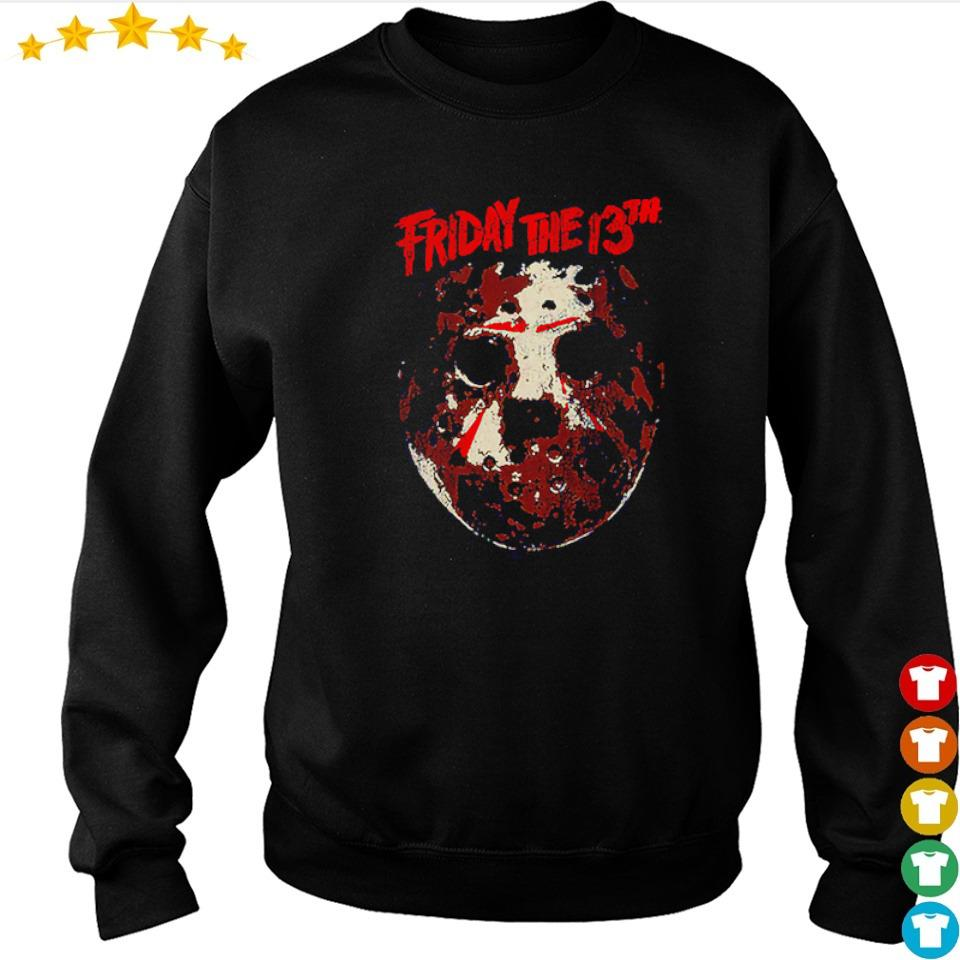 Distressed hockey mask Friday the 13th s sweater