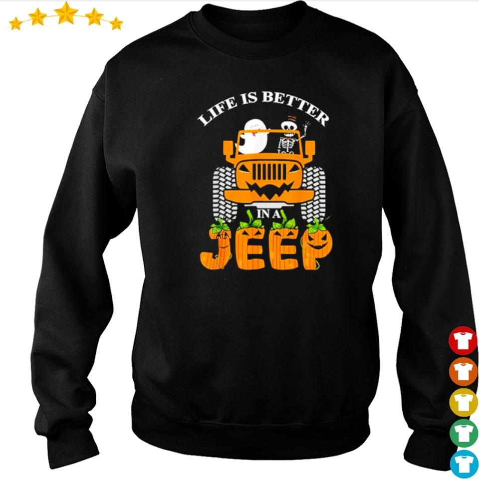 Ghost and skeleton life is better in a Jeep Halloween s sweater