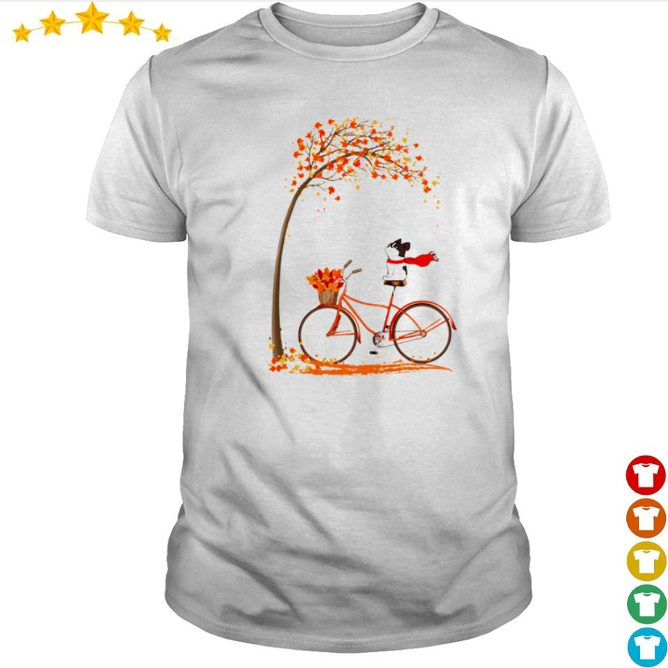 Happy Frenchie dog riding bike Autumn shirt