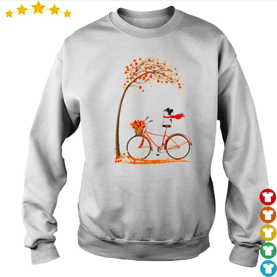 Happy Frenchie dog riding bike Autumn s sweater