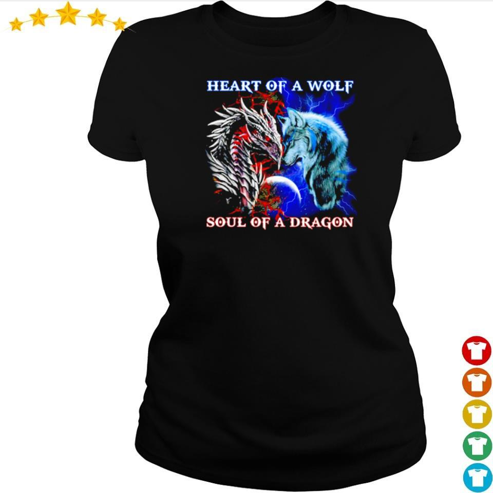 Heart of a wolf soul of a dragon s ladies tee
