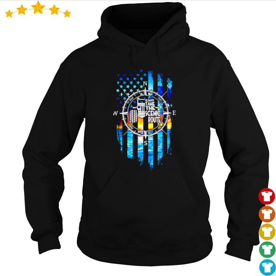 Jeep American Flag always take the scenic route s hoodie