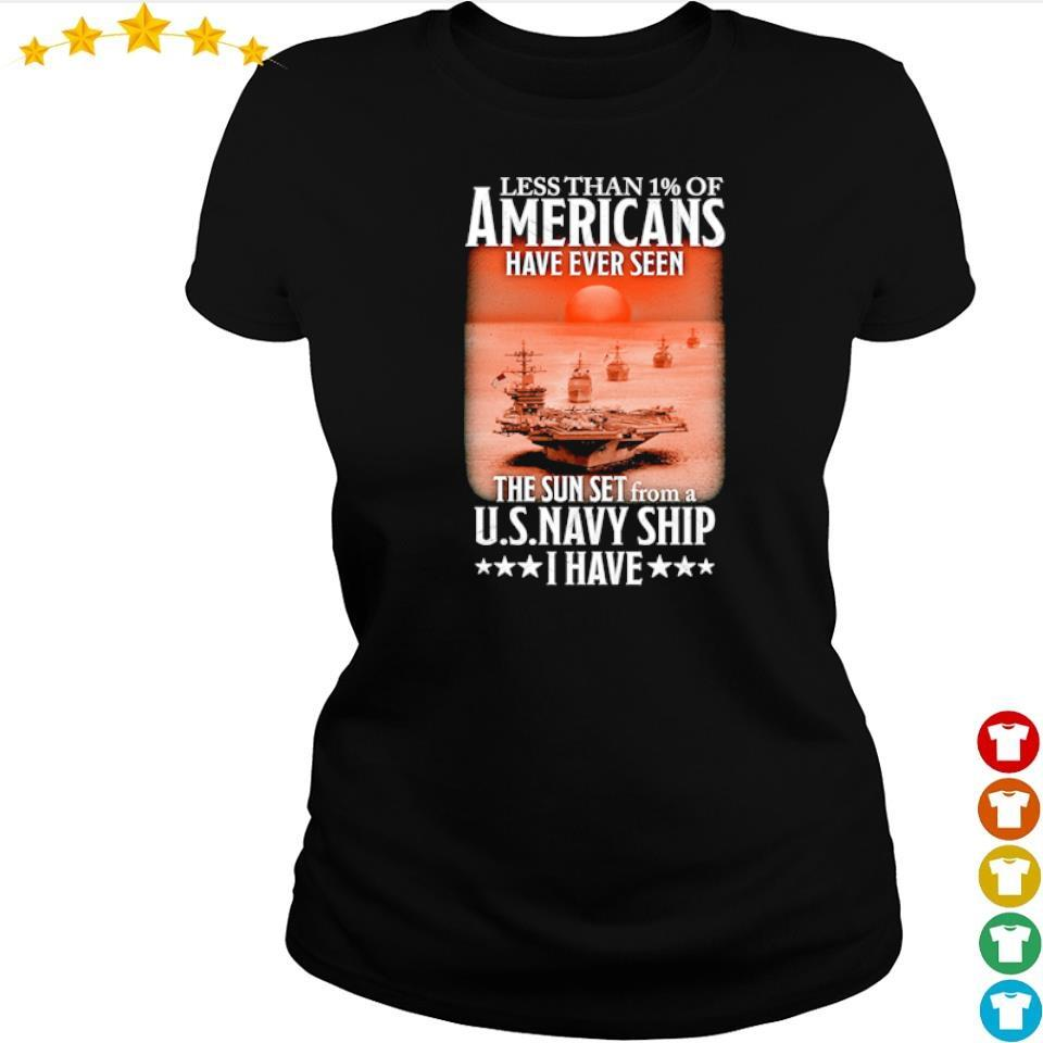 Less than 1% of Americans have ever seen the sun set from a USNavy ship I have s ladies tee