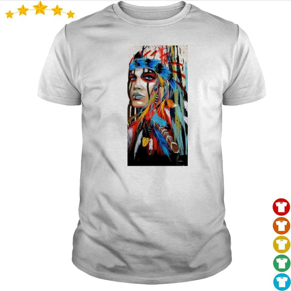 Native American Girl graffiti art shirt