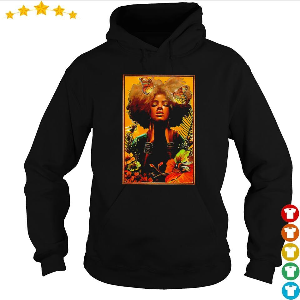 Official black woman with butterfly art s hoodie