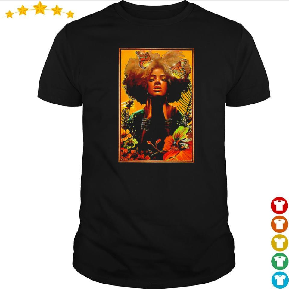 Official black woman with butterfly art shirt