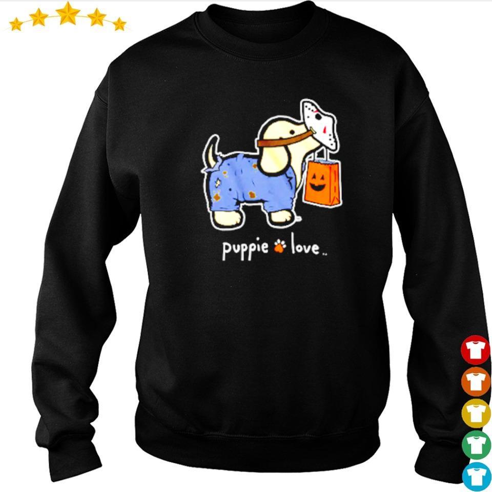 Puppie love wearing Jason Voorhees mask Halloween s sweater