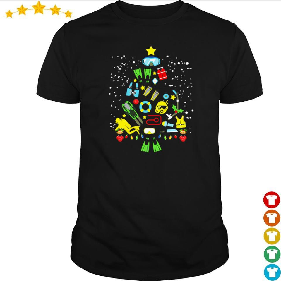 Scuba diving on Christmas tree shirt