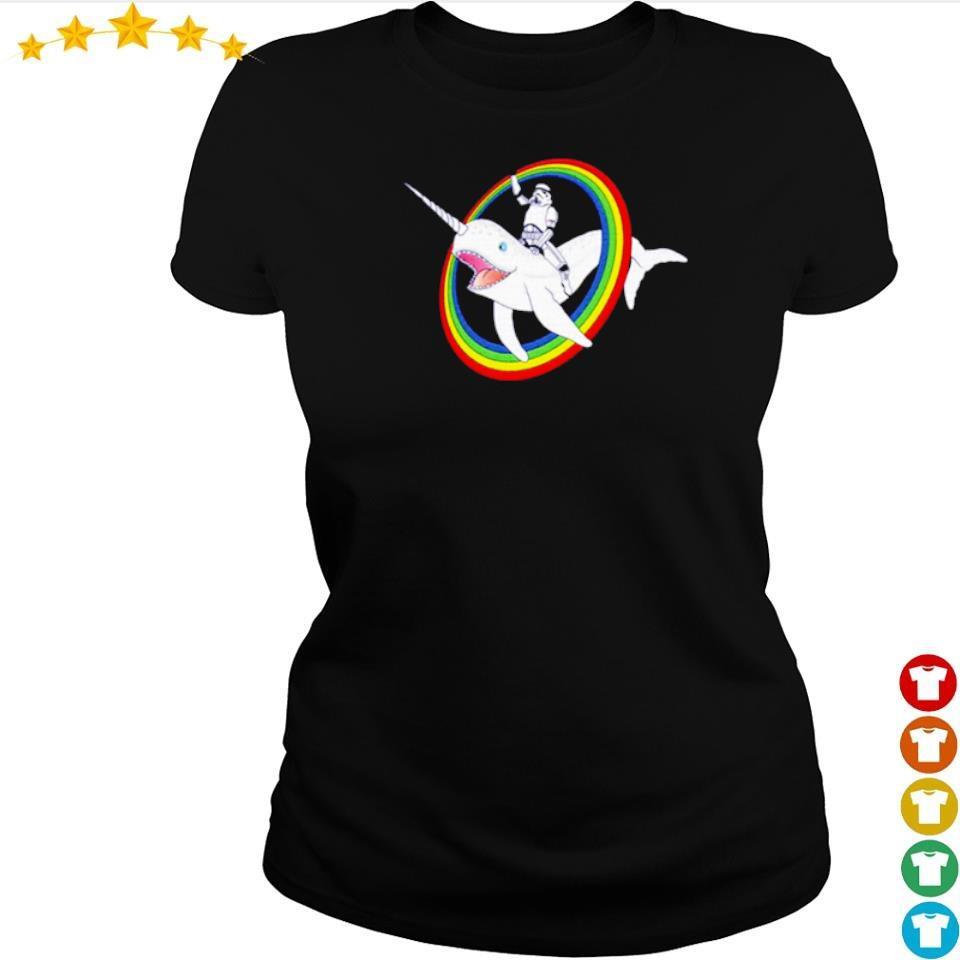 Stormtrooper riding unicorn whale s ladies tee