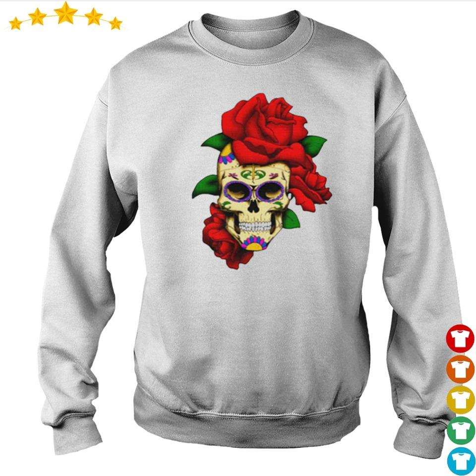 Sugar skull with rose day of the dead dia de muertos s sweater