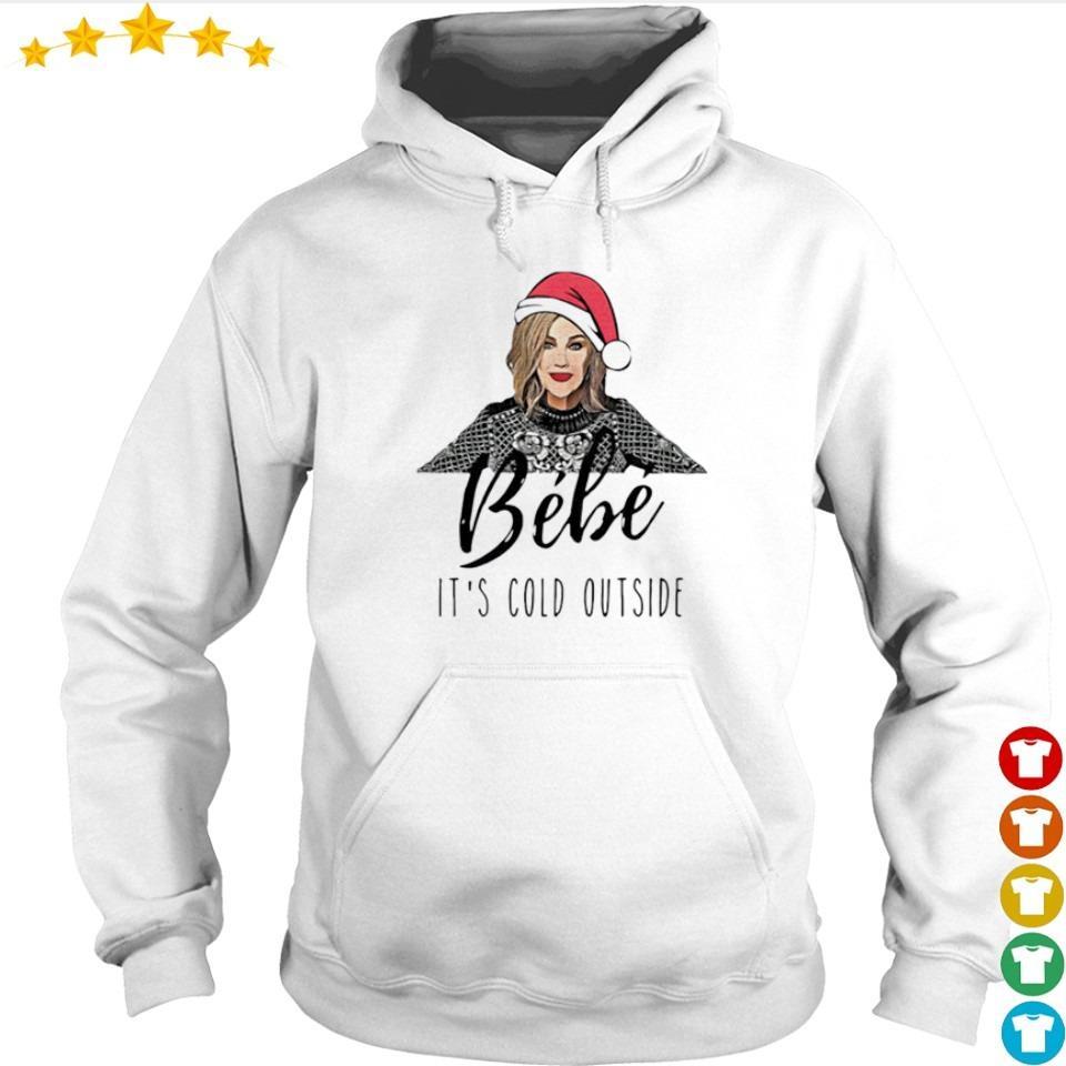 Bebe wearing Santa hat it's cold outside Christmas sweater hoodie