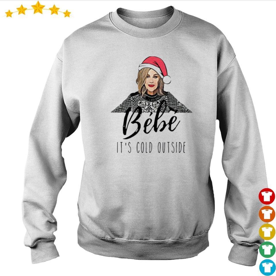 Bebe wearing Santa hat it's cold outside Christmas sweater