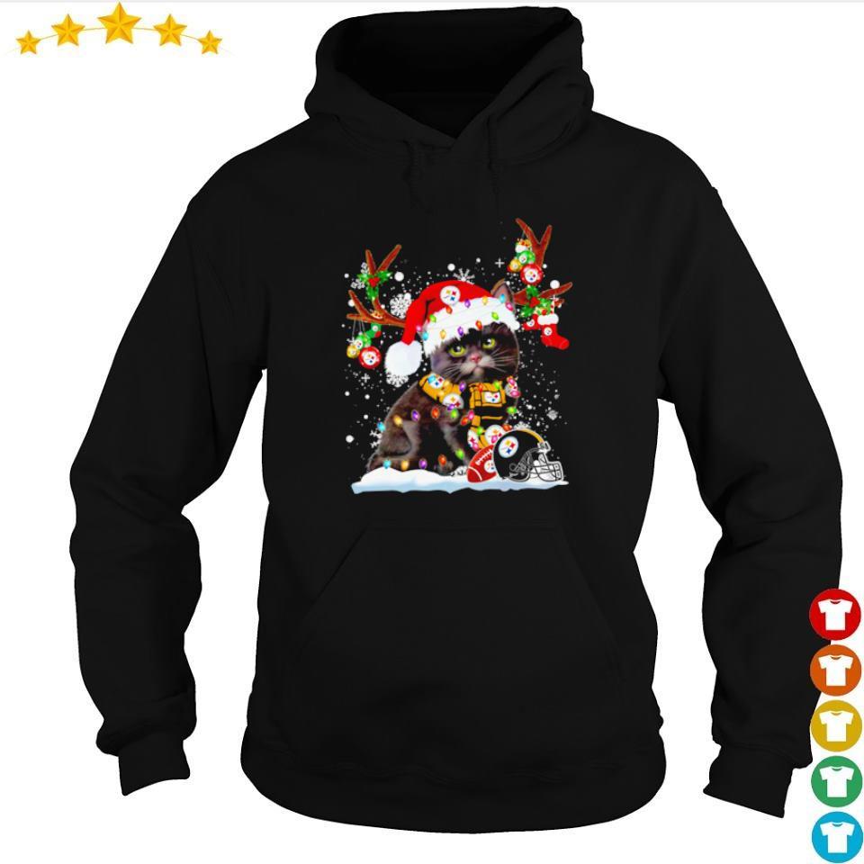 Cat wearing Pittsburgh Steelers Santa hat Christmas sweater hoodie
