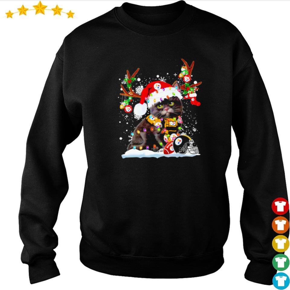 Cat wearing Pittsburgh Steelers Santa hat Christmas sweater