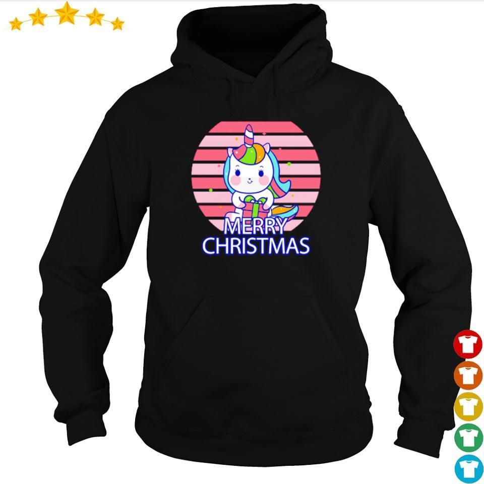 Cute chibi unicorn merry Christmas sweater hoodie