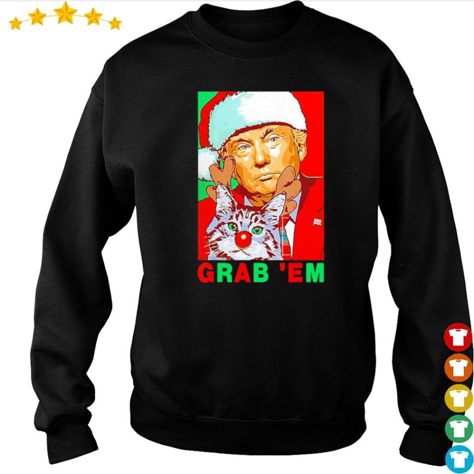 Donald Trump Santa with cat grab' em merry Christmas sweater