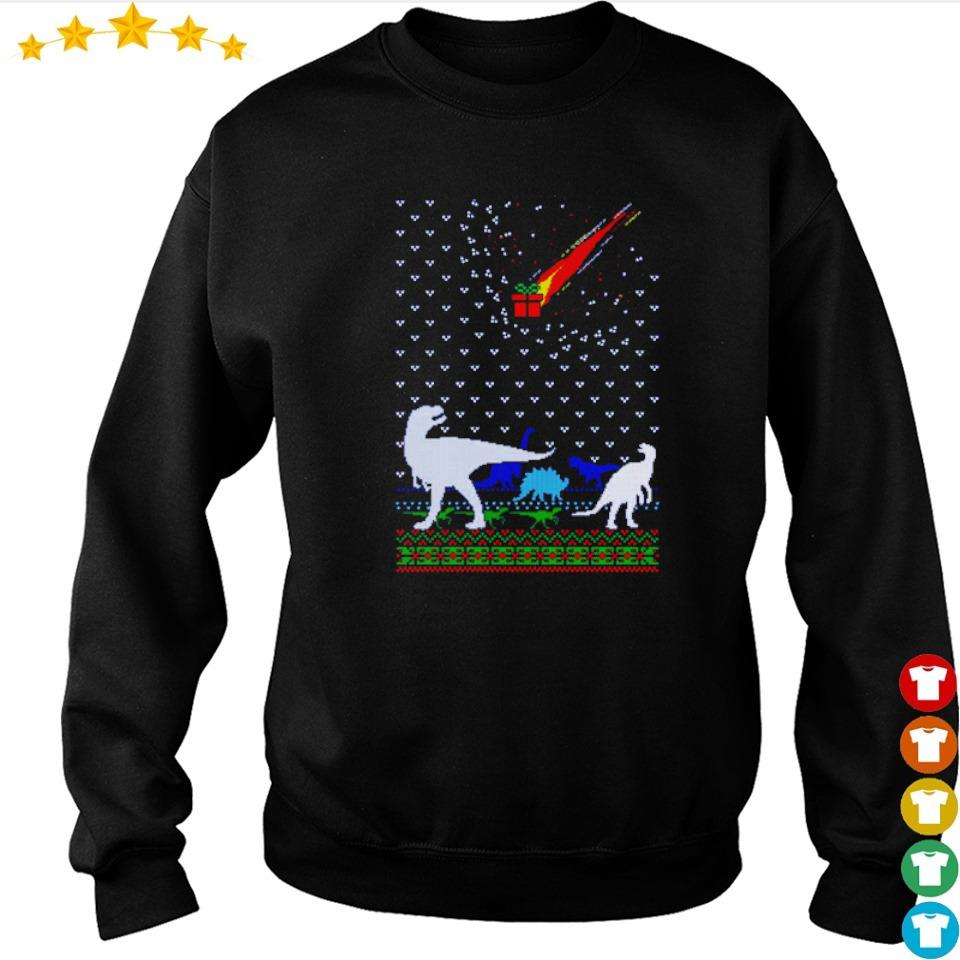 Funny dinosaur and present gifts merry Christmas sweater